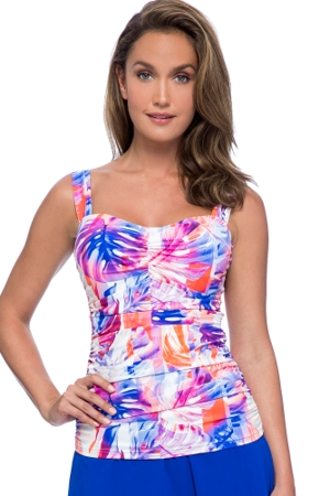 Profile by Gottex Sanibel D-Cup Scoop Neck Shirred Underwire Tankini Top