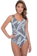 Profile by Gottex Bamboo Strappy V-Neck One Piece Swimsuit