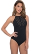 Profile by Gottex Kiss and Tell Black High Neck One Piece Swimsuit