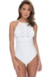 Profile by Gottex Kiss and Tell White High Neck One Piece Swimsuit
