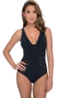 Profile by Gottex Kiss and Tell Black D-Cup Lace V-Neck One Piece Swimsuit