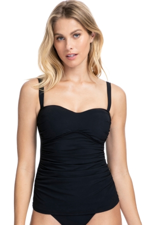 Profile by Gottex Tutti Frutti Black Sweetheart Bandeau Tankini Top