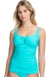 Profile by Gottex Tutti Frutti Light Jade Scoop Neck Shirred Tankini Top