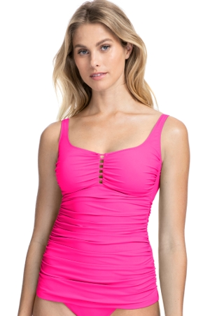 Profile by Gottex Tutti Frutti Pink Scoop Neck Shirred Tankini Top
