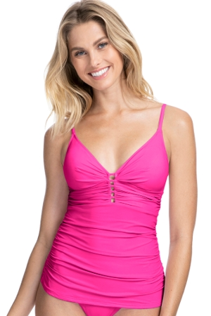 Profile by Gottex Tutti Frutti Pink V-Neck Shirred Tankini Top
