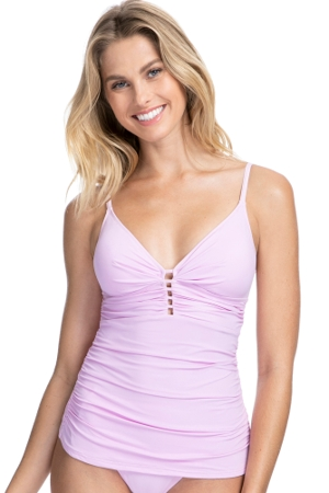 Profile by Gottex Tutti Frutti Pale Pink V-Neck Shirred Tankini Top