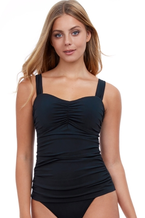 Profile by Gottex Tutti Frutti Black D-Cup Scoop Neck Shirred Underwire Tankini Top
