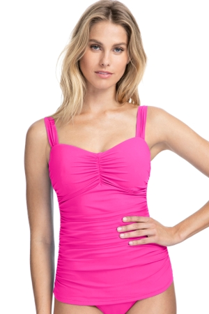 Profile by Gottex Tutti Frutti Pink D-Cup Scoop Neck Shirred Underwire Tankini Top