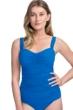 Profile by Gottex Tutti Frutti Blue E-Cup Scoop Neck Shirred Underwire Tankini Top