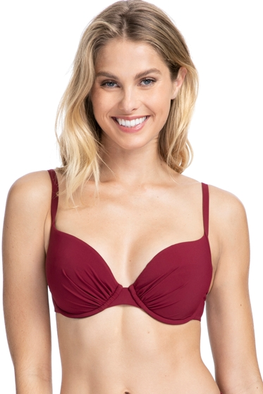 Profile by Gottex Tutti Frutti Merlot E-Cup Push Up Underwire Bikini Top