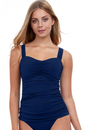 Profile by Gottex Tutti Frutti Navy F-Cup Scoop Neck Shirred Underwire Tankini Top