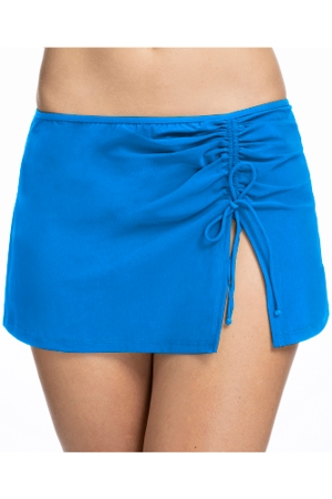 Profile by Gottex Tutti Frutti Blue Side Slit Cinch Swim Skirt