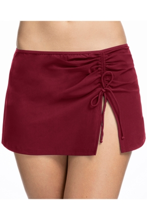 Profile by Gottex Tutti Frutti Merlot Side Slit Cinch Swim Skirt