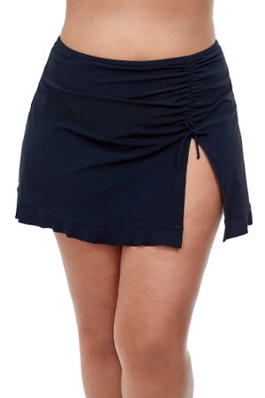 Profile by Gottex Tutti Frutti Black Plus Size Side Slit Cinch Swim Skirt