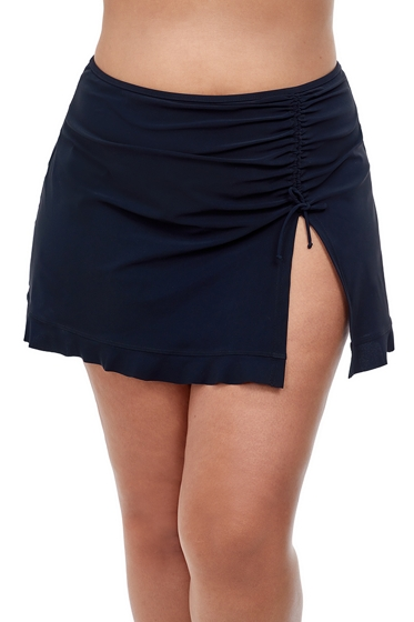 Profile by Gottex Tutti Frutti Black Plus Size Side Slit Cinch Swim Skirt