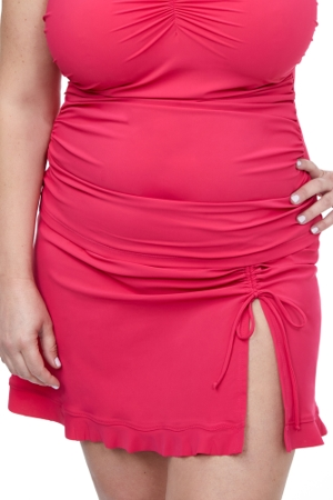 Profile by Gottex Tutti Frutti Pink Plus Size Side Slit Cinch Swim Skirt