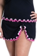 Profile by Gottex Tutti Frutti Black and Pink Plus Size Side Slit Cinch Swim Skirt