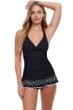 Profile by Gottex Tutti Frutti Black V-Neck Halter Underwire Swimdress