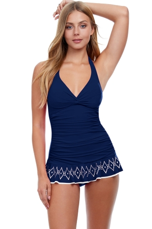 Profile by Gottex Tutti Frutti Navy V-Neck Halter Underwire Swimdress