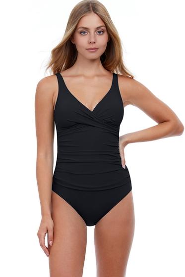 Profile by Gottex Tutti Frutti Black V-Neck Cross Over Surplice One Piece Swimsuit