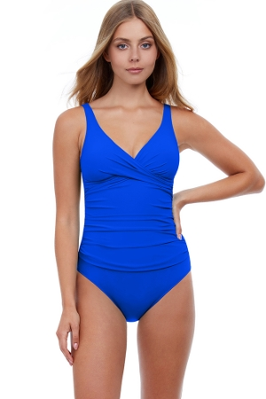 Profile by Gottex Tutti Frutti Cobalt Surplice One Piece Swimsuit