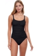 Profile by Gottex Tutti Frutti Black Peasant Shirred One Piece Swimsuit