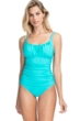 Profile by Gottex Tutti Frutti Light Jade Peasant Shirred One Piece Swimsuit