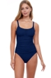 Profile by Gottex Tutti Frutti Navy Peasant Shirred One Piece Swimsuit