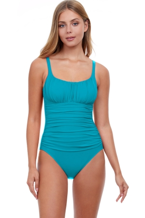 Profile by Gottex Tutti Frutti Peasant Shirred One Piece Swimsuit