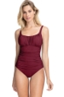 Profile by Gottex Tutti Frutti Merlot Peasant Shirred One Piece Swimsuit