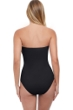 Profile by Gottex Tutti Frutti Black Shirred Front Bandeau Strapless One Piece Swimsuit