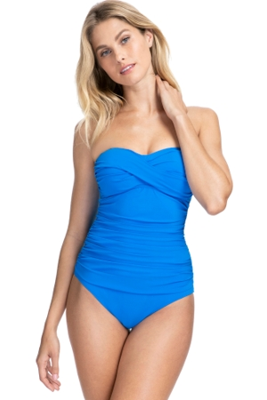 Profile by Gottex Tutti Frutti Blue Shirred Front Bandeau Strapless One Piece Swimsuit