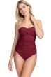 Profile by Gottex Tutti Frutti Merlot Shirred Front Bandeau Strapless One Piece Swimsuit