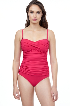 Profile by Gottex Tutti Frutti Pink Twist Front One Piece Swimsuit