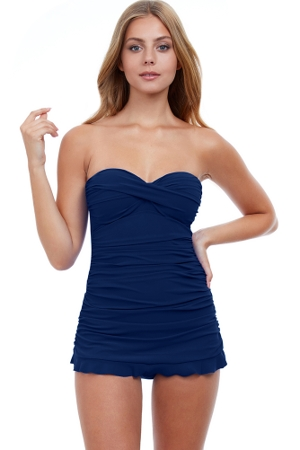 Profile by Gottex Tutti Frutti Navy Bandeau Strapless Shirred Swimdress