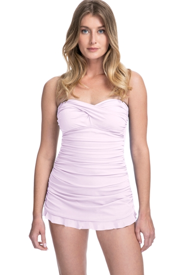 Profile by Gottex Tutti Frutti Pale Pink Bandeau Strapless Shirred Swimdress