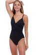 Profile by Gottex Tutti Frutti Black V-Neck Lingerie Surplice One Piece Swimsuit