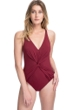 Profile by Gottex Tutti Frutti Merlot Center Ruched V-Neck One Piece Swimsuit