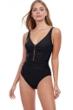 Profile by Gottex Tutti Frutti Black V-Neck Shirred Waist One Piece Swimsuit