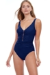 Profile by Gottex Tutti Frutti Navy V-Neck Shirred Waist One Piece Swimsuit