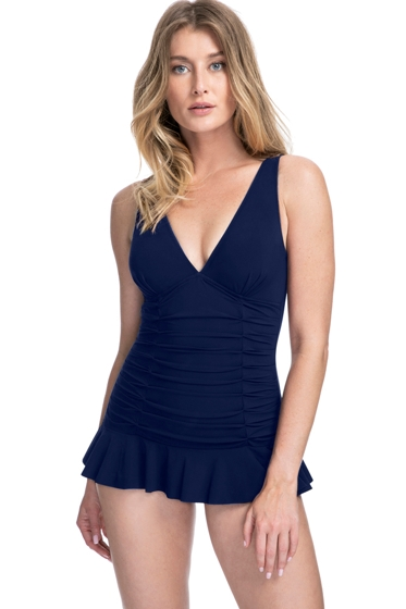 Profile by Gottex Tutti Frutti Navy V-Neck Shirred Swimdress
