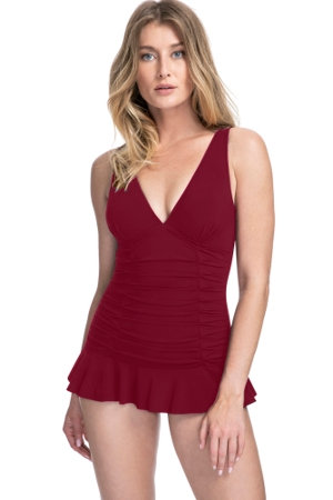 Profile by Gottex Tutti Frutti Merlot V-Neck Shirred Swimdress
