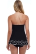 Profile by Gottex Tutti Frutti Black Bandeau Strapless Shirred Laser Cut Swimdress
