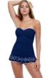 Profile by Gottex Tutti Frutti Navy Bandeau Strapless Shirred Laser Cut Swimdress