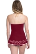 Profile by Gottex Tutti Frutti Merlot Bandeau Strapless Shirred Laser Cut Swimdress
