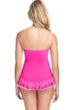 Profile by Gottex Tutti Frutti Pink Bandeau Strapless Shirred Laser Cut Swimdress