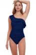 Profile by Gottex Tutti Frutti Navy Ruffle One Shoulder One Piece Swimsuit