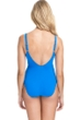Profile by Gottex Tutti Frutti Blue V-Neck Center Shirred Underwire One Piece Swimsuit