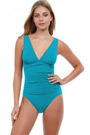 Profile by Gottex Tutti Frutti Turquoise V-Neck One Piece Swimsuit