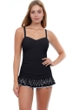 Profile by Gottex Tutti Frutti Black D-Cup Scoop Neck Laser Cut Underwire Swimdress